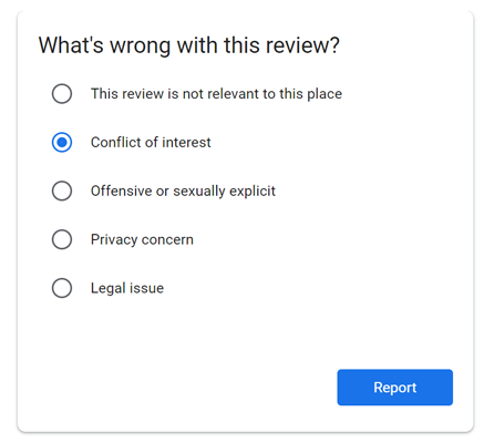 Users can flag and report suspicious reviews with Google